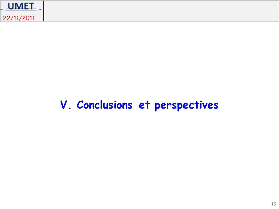 22/11/2011 V. Conclusions et perspectives 19