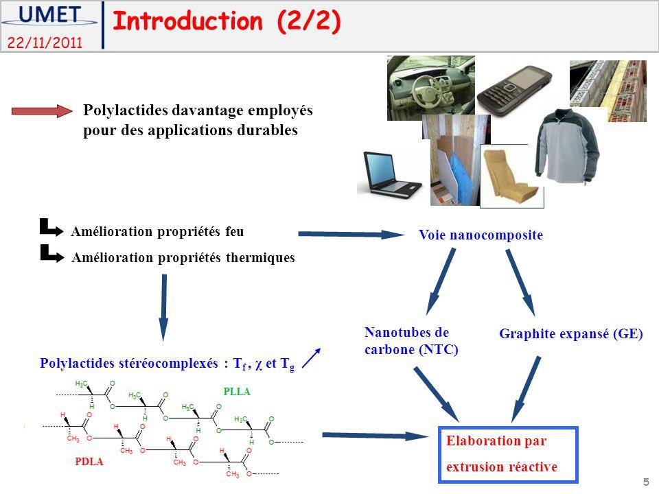 22/11/2011 Polylactides stéréocomplexés : T f, χ et T g Polylactides davantage employés pour des applications durables Amélioration propriétés thermiq