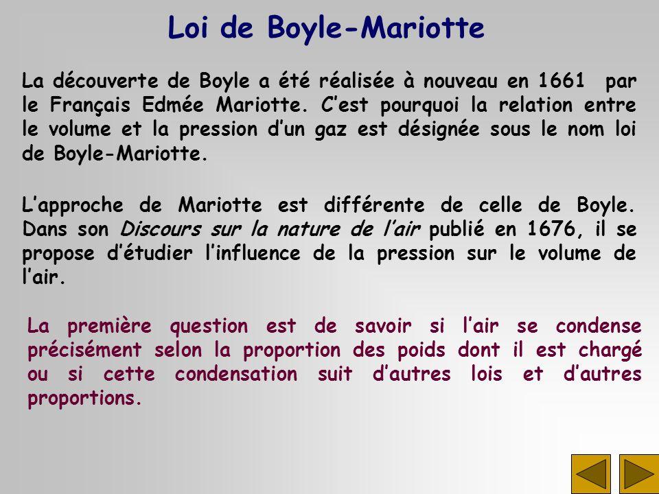 La découverte de Boyle a été réalisée à nouveau en 1661 par le Français Edmée Mariotte. Cest pourquoi la relation entre le volume et la pression dun g