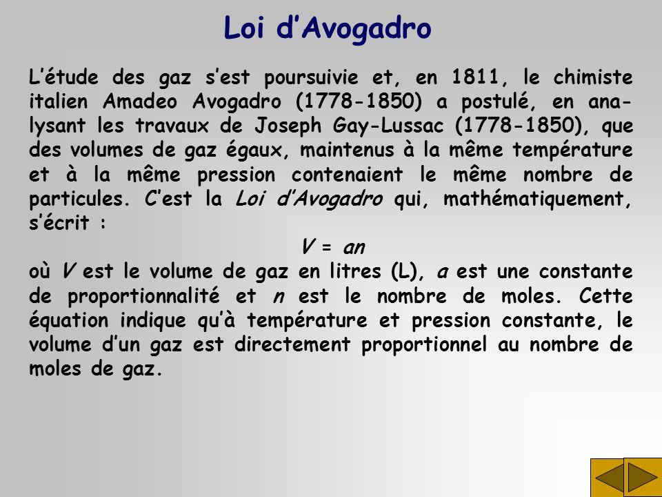 Létude des gaz sest poursuivie et, en 1811, le chimiste italien Amadeo Avogadro (1778-1850) a postulé, en ana- lysant les travaux de Joseph Gay-Lussac