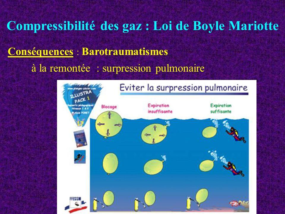 Compressibilité des gaz : Loi de Boyle Mariotte à la remontée : surpression pulmonaire Conséquences : Barotraumatismes