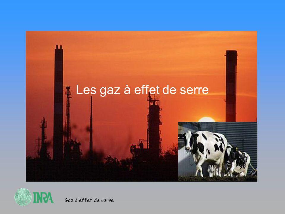 Gaz à effet de serre Les différents gaz Les principaux gaz à effet de serre sont CO 2, CH 4, N 2 O La contribution de lagriculture et de lélevage est différente selon le gaz concerné –Le méthane: très forte contribution des ruminants –Le protoxyde dazote: forte contribution des sols agricoles La comptabilité se fait en Tonne Équivalent CO 2 (teq CO 2 )