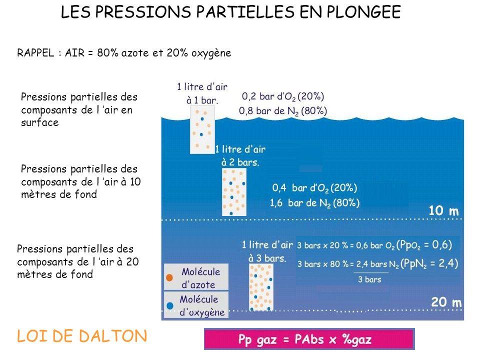LES PRESSIONS PARTIELLES EN PLONGEE Pressions partielles des composants de l air en surface Pressions partielles des composants de l air à 10 mètres de fond Pressions partielles des composants de l air à 20 mètres de fond RAPPEL : AIR = 80% azote et 20% oxygène LOI DE DALTON