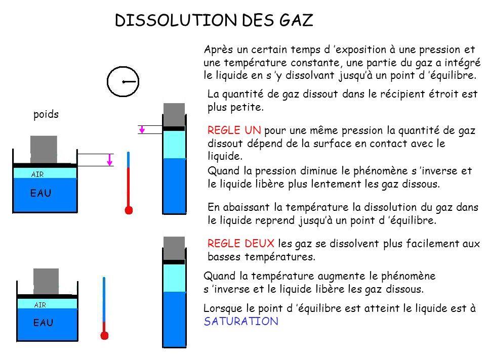 DISSOLUTION DES GAZ poids Après un certain temps d exposition à une pression et une température constante, une partie du gaz a intégré le liquide en s y dissolvant jusquà un point d équilibre.