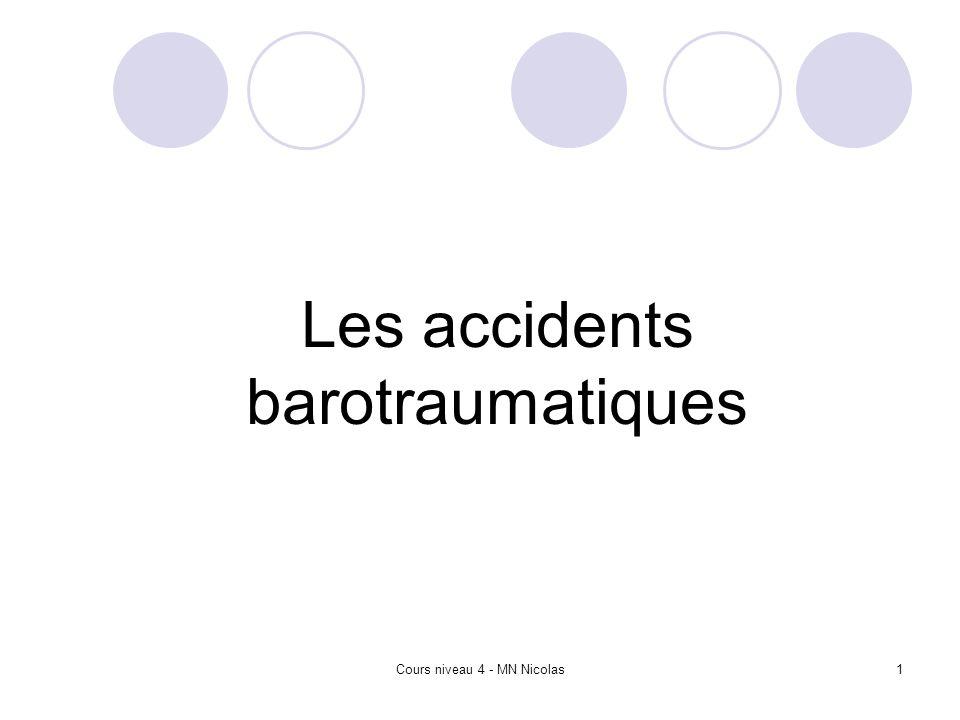 Cours niveau 4 - MN Nicolas2 Plan Introduction Les accidents barotraumatiques La surpression pulmonaire Rôle du guide de palanquée