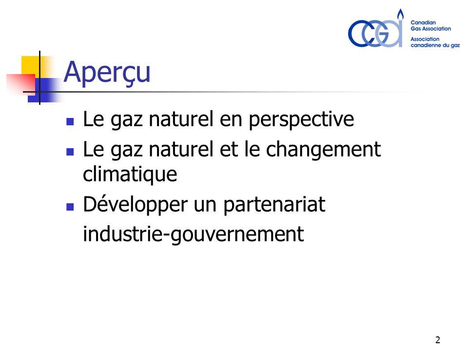 2 Aperçu Le gaz naturel en perspective Le gaz naturel et le changement climatique Développer un partenariat industrie-gouvernement
