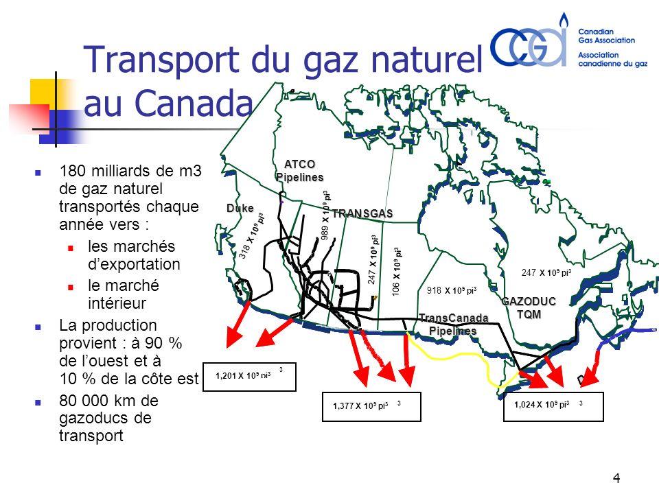 4 Transport du gaz naturel au Canada 180 milliards de m3 de gaz naturel transportés chaque année vers : les marchés dexportation le marché intérieur La production provient : à 90 % de louest et à 10 % de la côte est 80 000 km de gazoducs de transport GAZODUCTQM TransCanadaPipelines ATCOPipelines TRANSGAS Duke