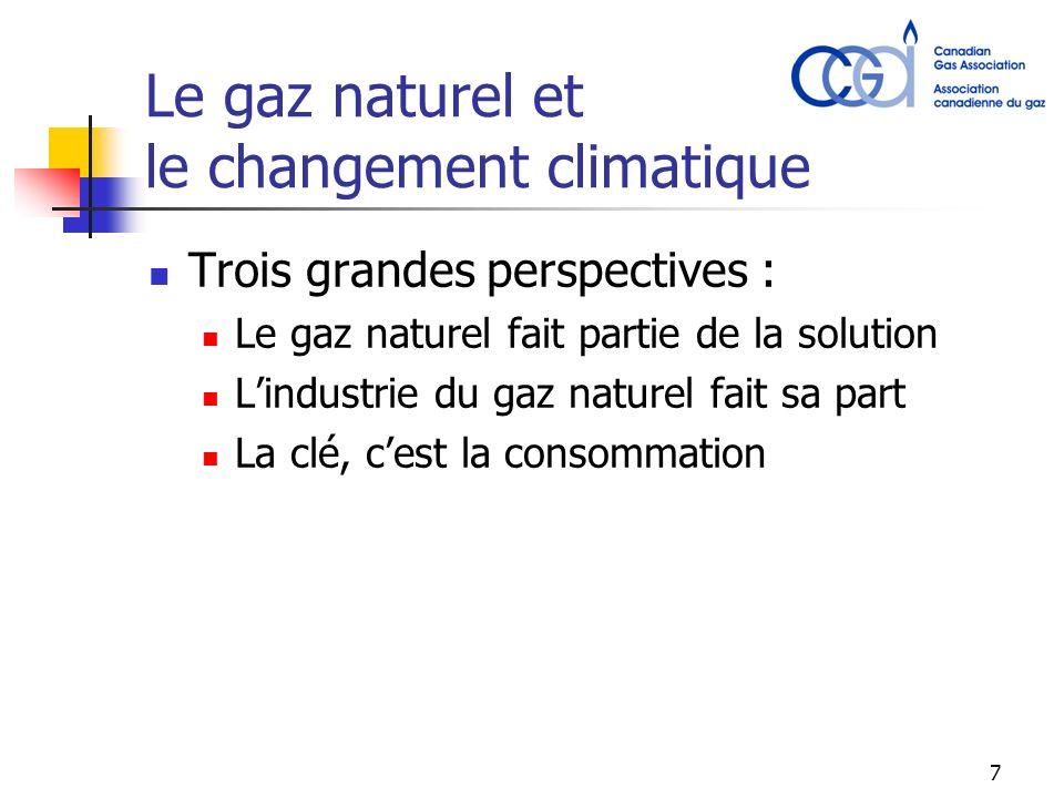 7 Le gaz naturel et le changement climatique Trois grandes perspectives : Le gaz naturel fait partie de la solution Lindustrie du gaz naturel fait sa part La clé, cest la consommation