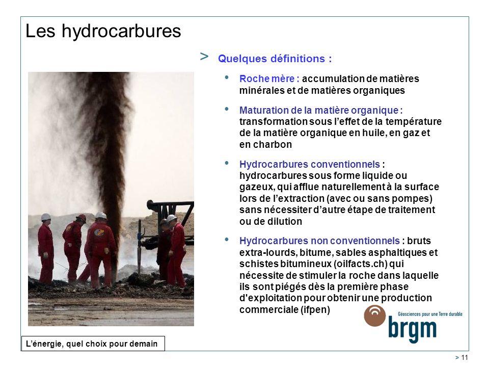 Les hydrocarbures > 11 > Quelques définitions : Roche mère : accumulation de matières minérales et de matières organiques Maturation de la matière org