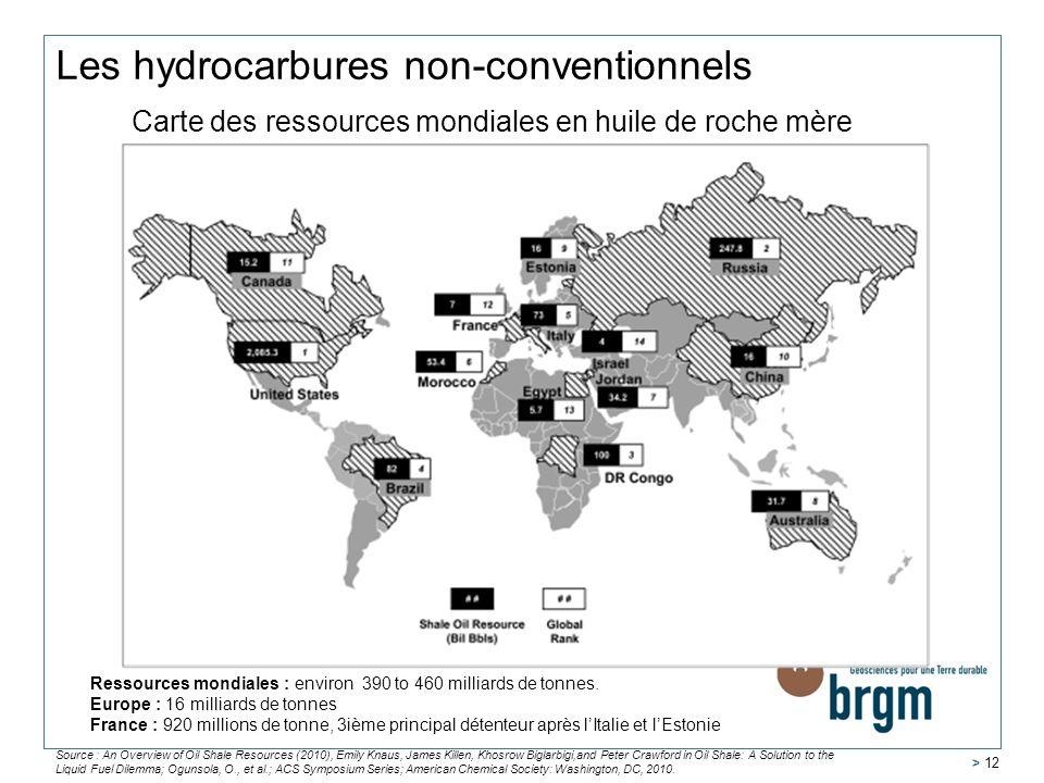 > 12 Carte des ressources mondiales en huile de roche mère Source : An Overview of Oil Shale Resources (2010), Emily Knaus, James Killen, Khosrow Bigl