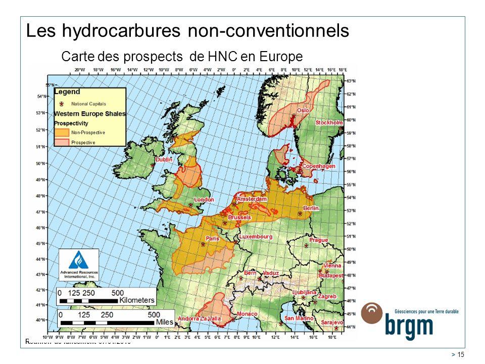 Réunion de lancement 07/01/2010 > 15 Les hydrocarbures non-conventionnels Carte des prospects de HNC en Europe