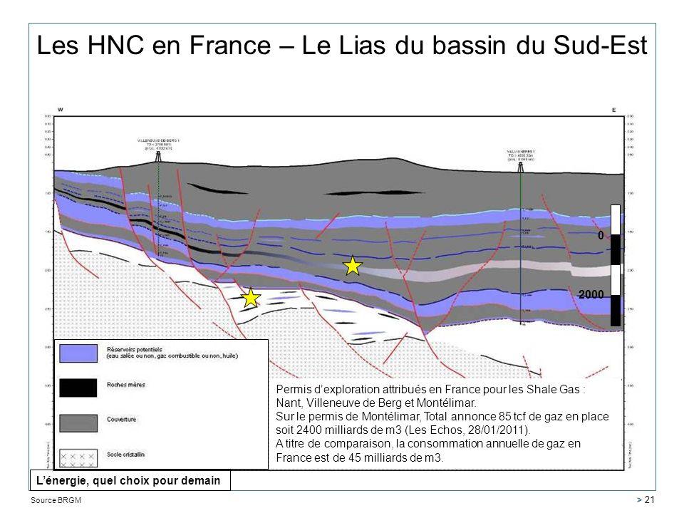 Les HNC en France – Le Lias du bassin du Sud-Est 0 2000 Source BRGM > 21 Permis dexploration attribués en France pour les Shale Gas : Nant, Villeneuve