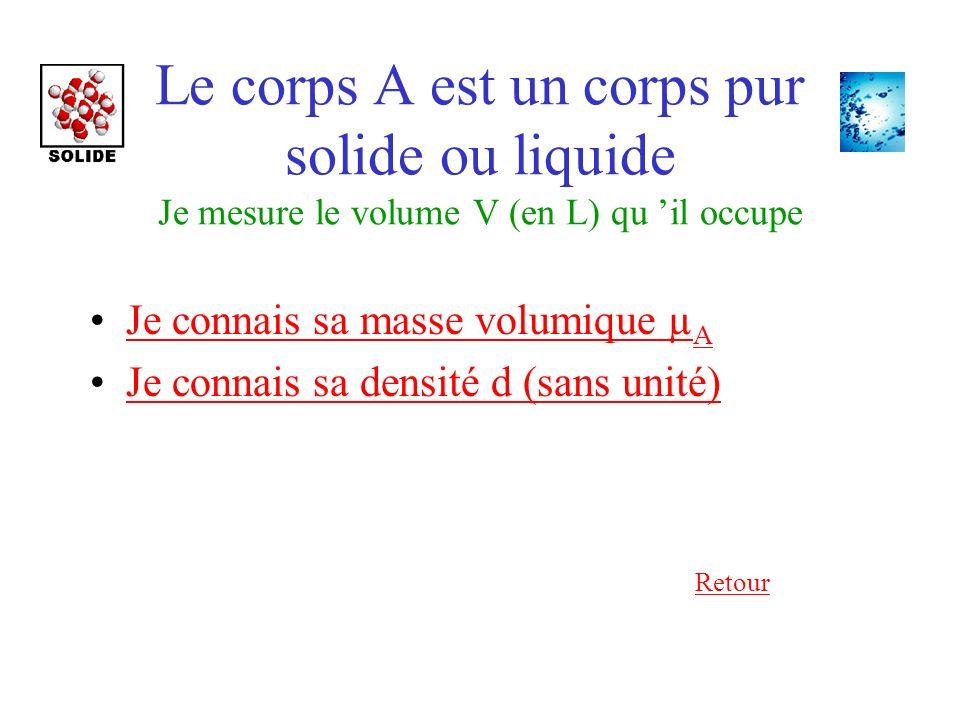Le corps A est un corps pur solide ou liquide Je mesure le volume V (en L) qu il occupe Je connais sa masse volumique µ AJe connais sa masse volumique µ A Je connais sa densité d (sans unité) Retour