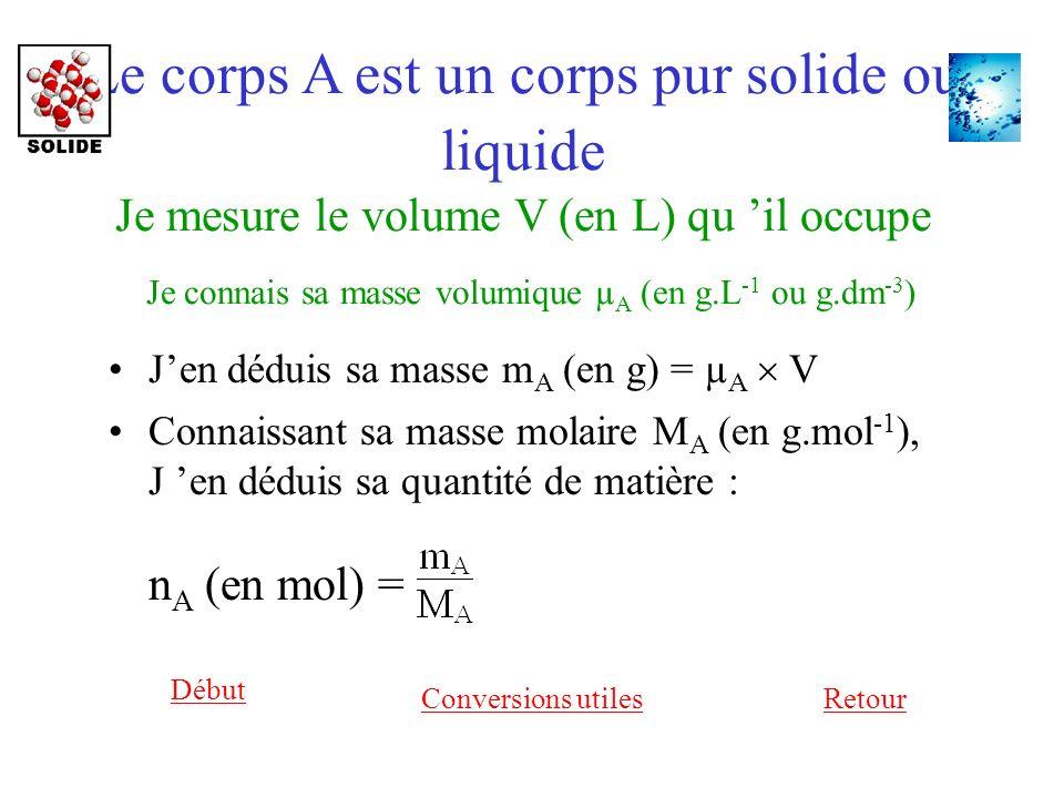 Le corps A est un corps pur solide ou liquide Je mesure le volume V (en L) qu il occupe Je connais sa masse volumique µ A (en g.L -1 ou g.dm -3 ) Jen déduis sa masse m A (en g) = µ A V Retour Début Connaissant sa masse molaire M A (en g.mol -1 ), J en déduis sa quantité de matière : n A (en mol) = Conversions utiles