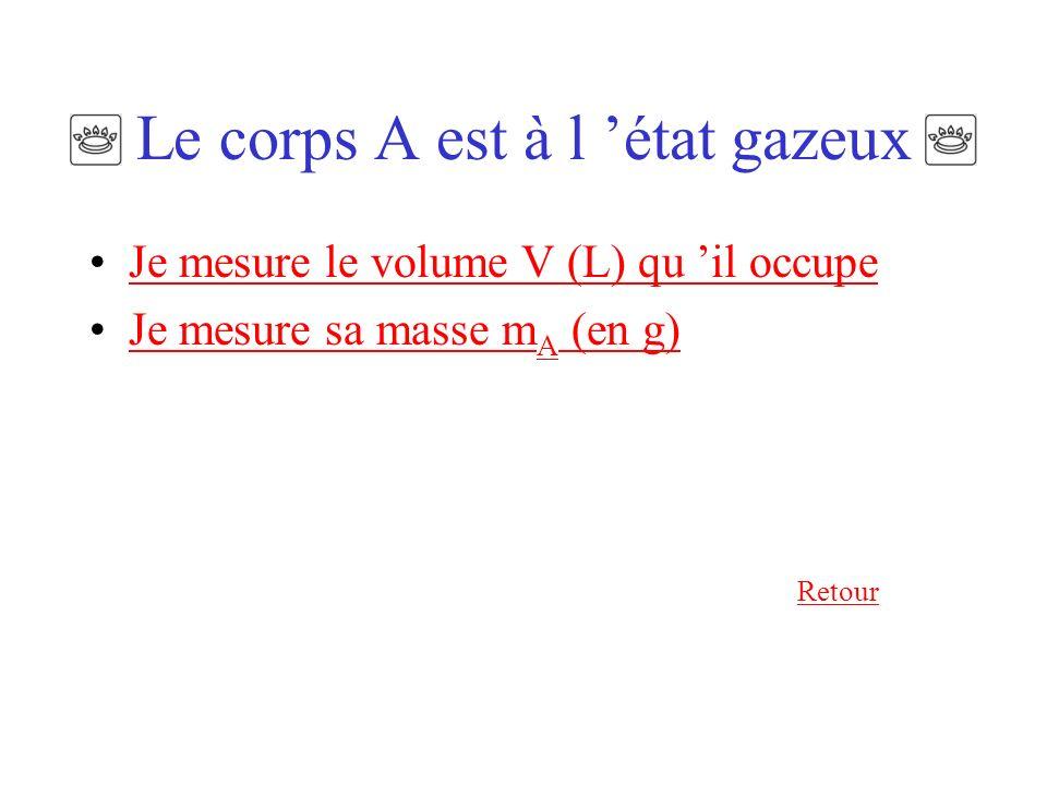 Soit un composé chimique noté A Le corps A est à l état gazeux Le corps A est un corps pur solide ou liquideLe corps A est un corps pur solide ou liqu