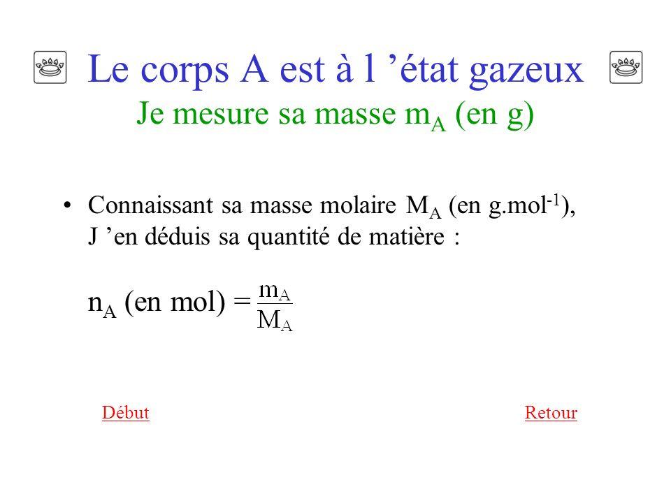 Le corps A est à l état gazeux Je mesure sa masse m A (en g) Connaissant sa masse molaire M A (en g.mol -1 ), J en déduis sa quantité de matière : n A (en mol) = RetourDébut
