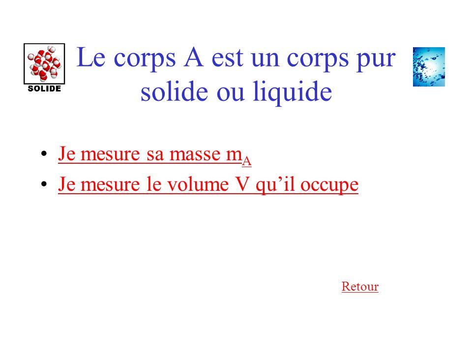 Le corps A est à l état gazeux Je mesure sa masse m A (en g) Connaissant sa masse molaire M A (en g.mol -1 ), J en déduis sa quantité de matière : n A