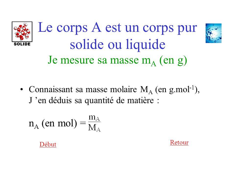 Début Retour Le corps A est un corps pur solide ou liquide Je mesure sa masse m A (en g) Connaissant sa masse molaire M A (en g.mol -1 ), J en déduis sa quantité de matière : n A (en mol) =