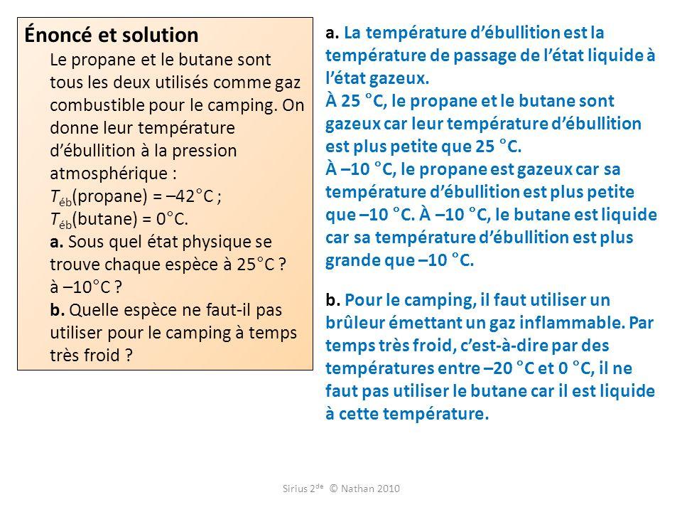 a.La température débullition est la température de passage de létat liquide à létat gazeux.