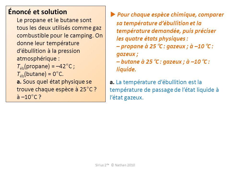 Pour chaque espèce chimique, comparer sa température débullition et la température demandée, puis préciser les quatre états physiques : – propane à 25°C : gazeux ; à –10°C : gazeux ; – butane à 25°C : gazeux ; à –10°C : liquide.