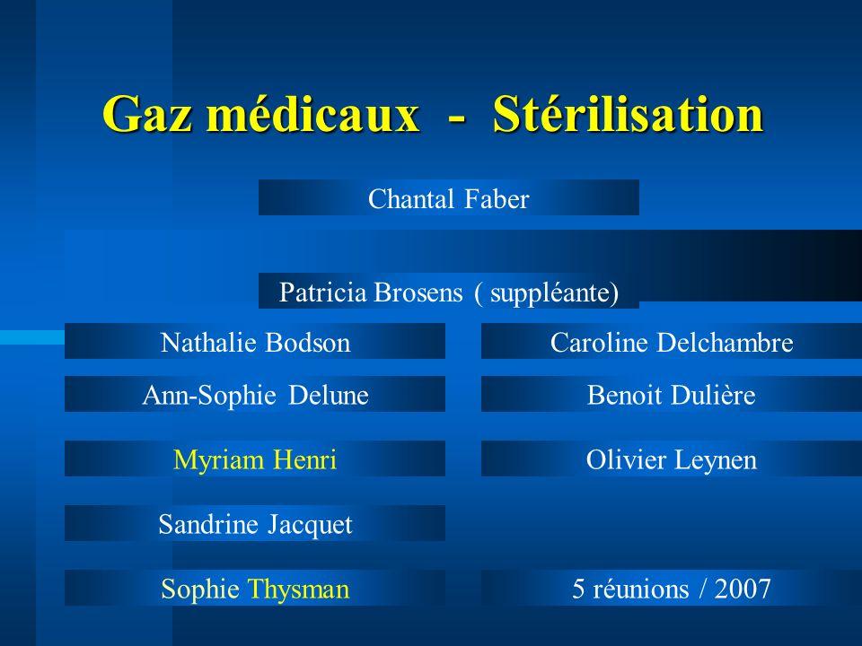 Gaz médicaux - Stérilisation Gaz médicaux - Stérilisation Ann-Sophie Delune Myriam Henri Sandrine Jacquet Sophie Thysman Benoit Dulière Olivier Leynen