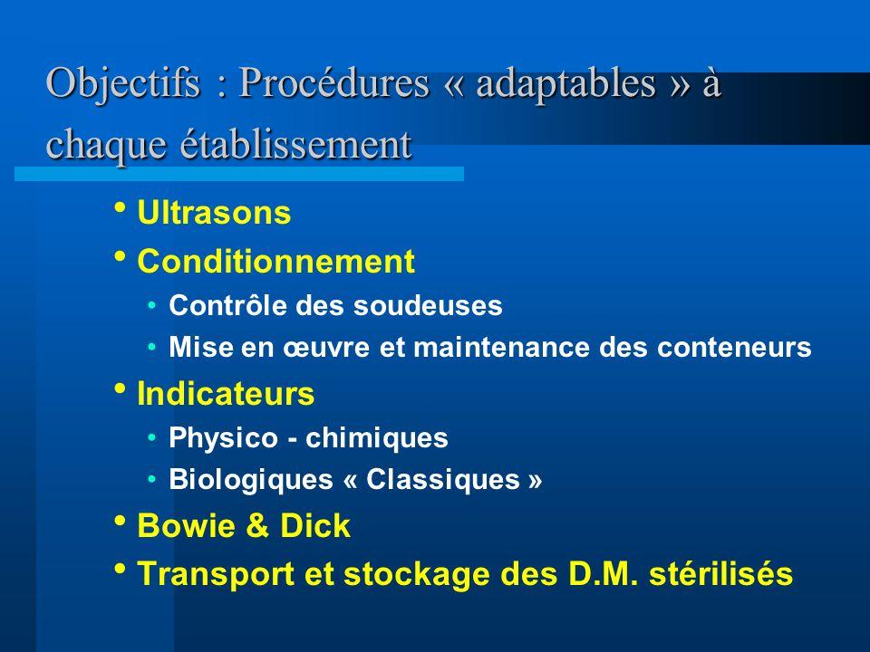 Objectifs : Procédures « adaptables » à chaque établissement Ultrasons Conditionnement Contrôle des soudeuses Mise en œuvre et maintenance des contene