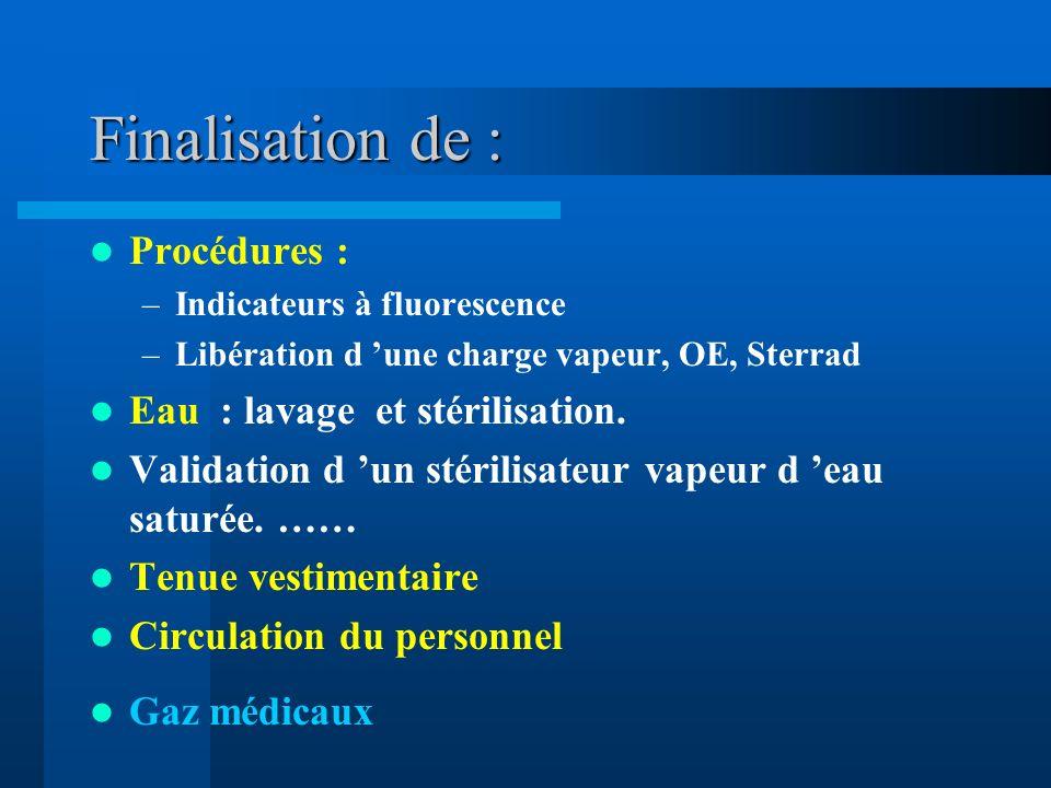 Finalisation de : Procédures : –Indicateurs à fluorescence –Libération d une charge vapeur, OE, Sterrad Eau : lavage et stérilisation. Validation d un