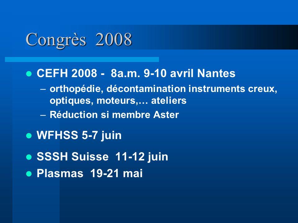 Congrès 2008 CEFH 2008 - 8a.m. 9-10 avril Nantes –orthopédie, décontamination instruments creux, optiques, moteurs,… ateliers –Réduction si membre Ast