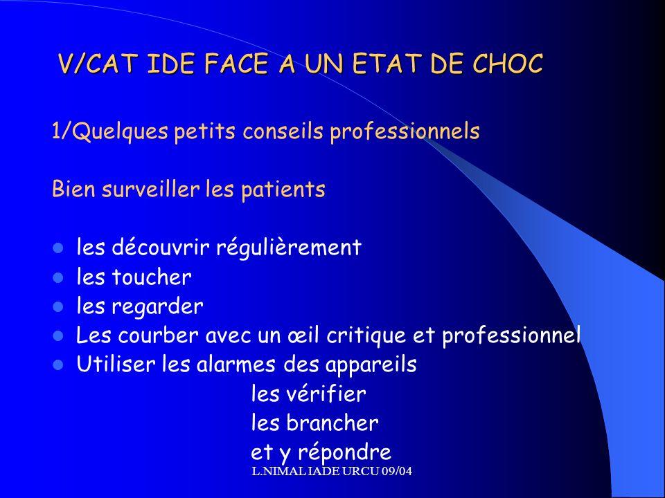 L.NIMAL IADE URCU 09/04 V/CAT IDE FACE A UN ETAT DE CHOC 1/Quelques petits conseils professionnels Bien surveiller les patients les découvrir régulièr