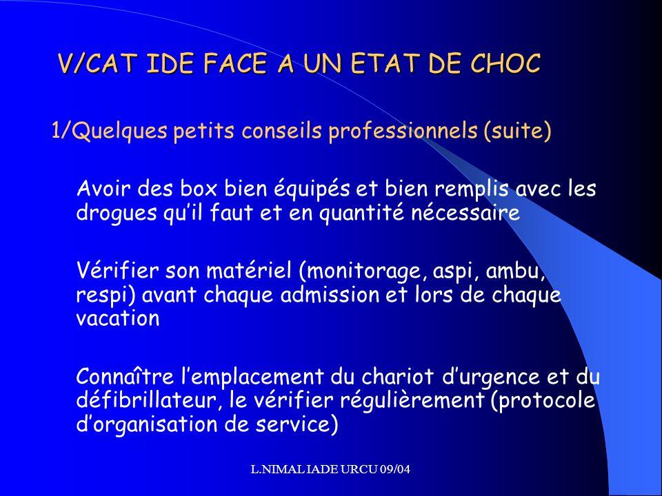L.NIMAL IADE URCU 09/04 V/CAT IDE FACE A UN ETAT DE CHOC 1/Quelques petits conseils professionnels (suite) Avoir des box bien équipés et bien remplis