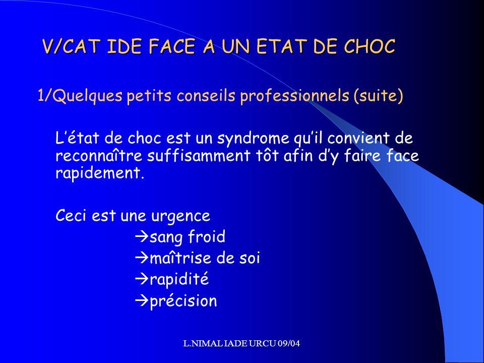 L.NIMAL IADE URCU 09/04 V/CAT IDE FACE A UN ETAT DE CHOC 1/Quelques petits conseils professionnels (suite) Létat de choc est un syndrome quil convient