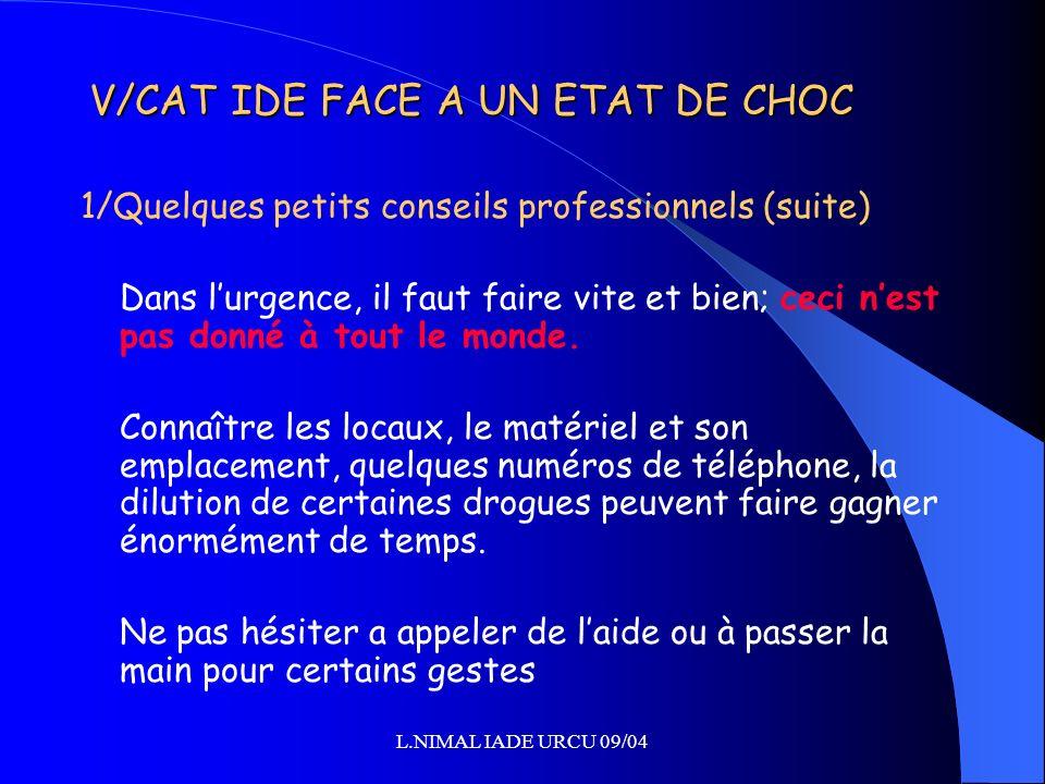L.NIMAL IADE URCU 09/04 V/CAT IDE FACE A UN ETAT DE CHOC 1/Quelques petits conseils professionnels (suite) Dans lurgence, il faut faire vite et bien;