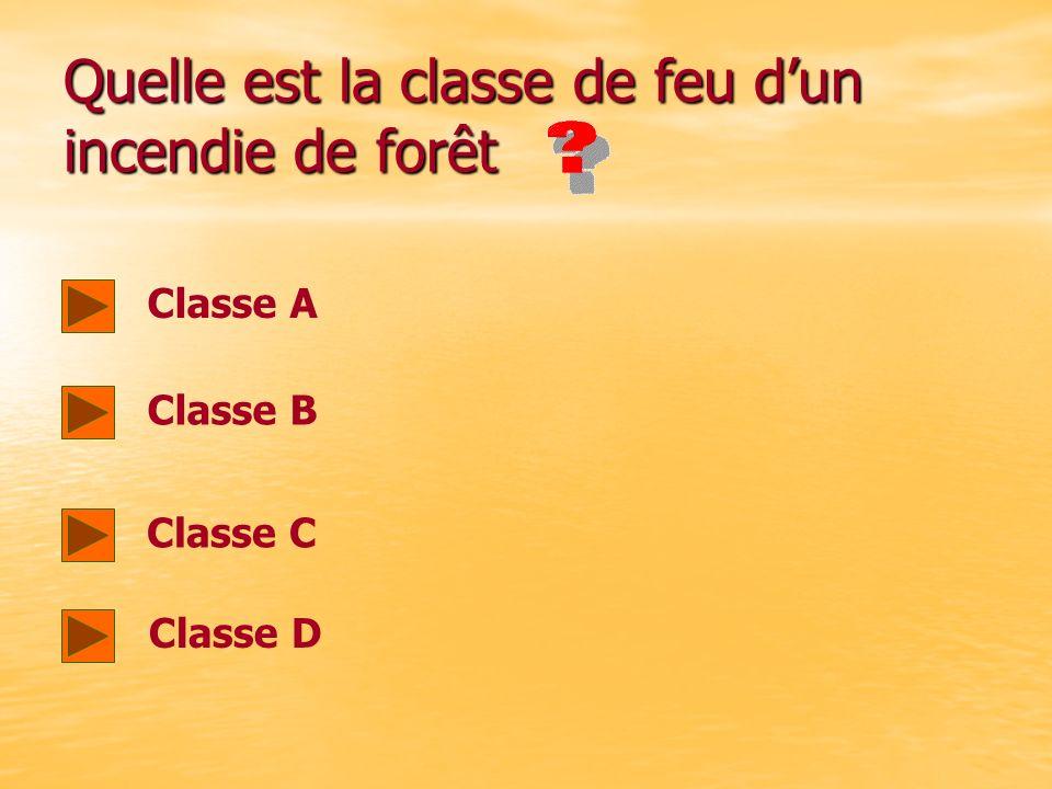 Quelles sont les 4 classes de feux A=feux gras, B=feux secs, C=feux de gaz, D= feux de métaux A=feux gras, B=feux secs, C=feux de gaz, D= feux de méta