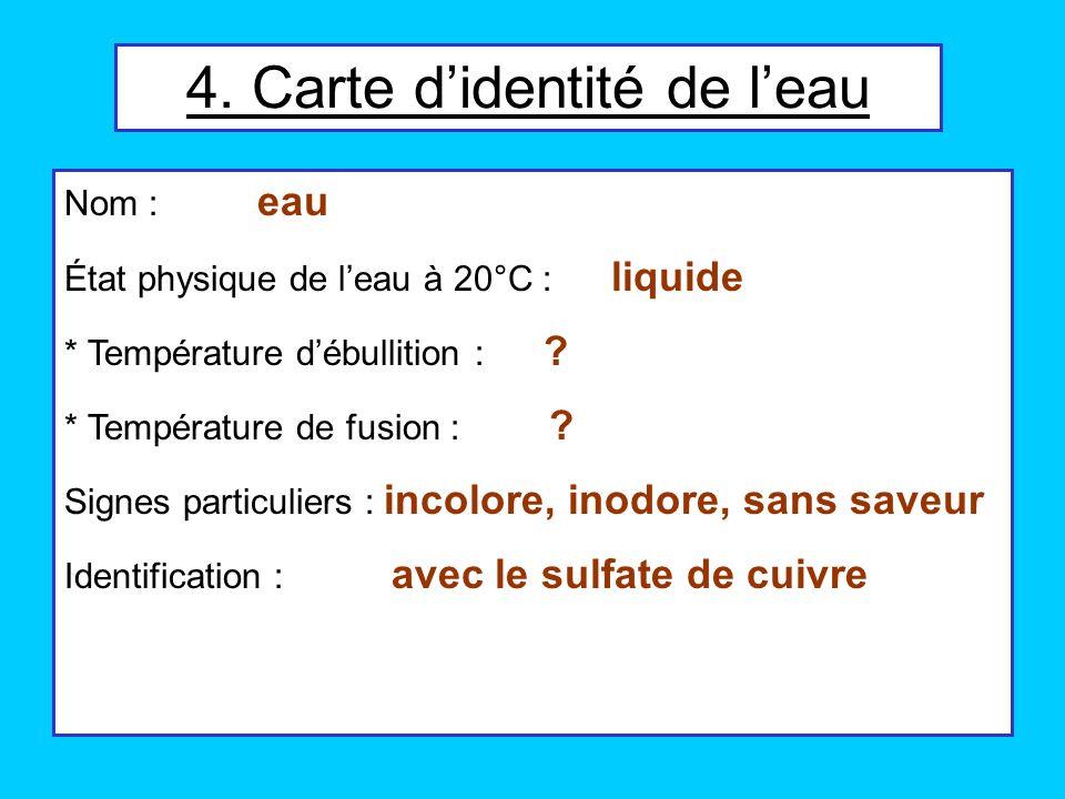 4. Carte didentité de leau Nom : eau État physique de leau à 20°C : liquide * Température débullition : ? * Température de fusion : ? Signes particuli
