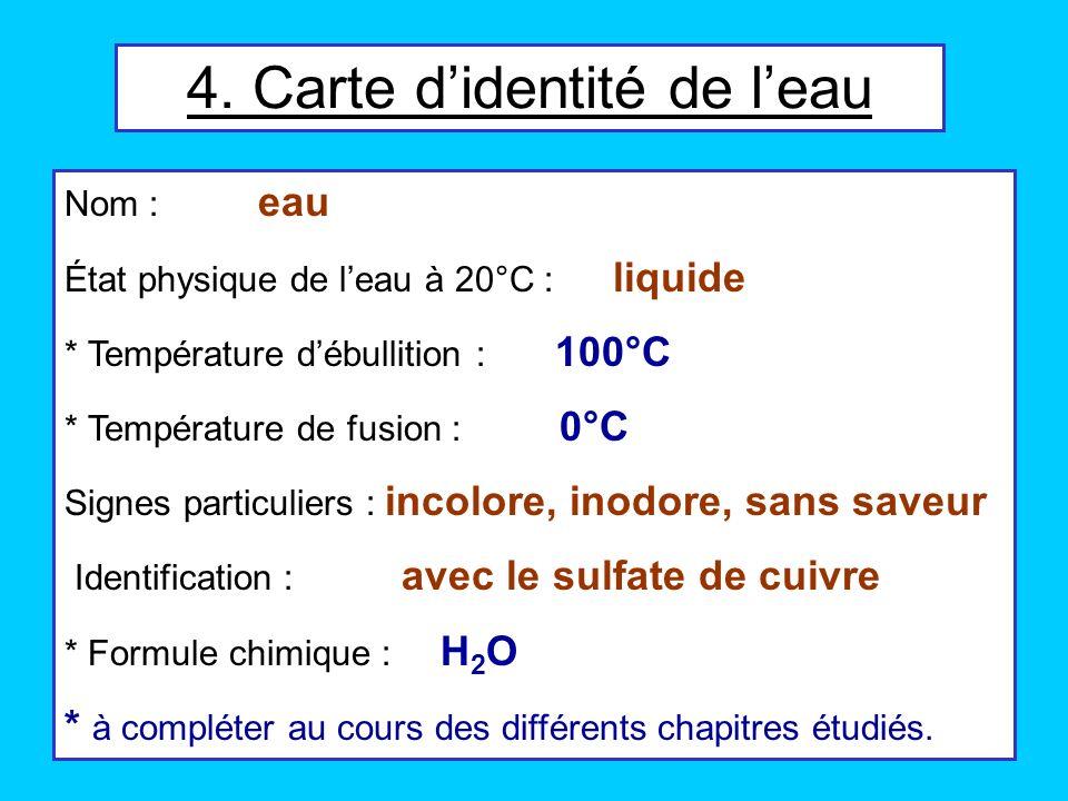 Nom : eau État physique de leau à 20°C : liquide * Température débullition : 100°C * Température de fusion : 0°C Signes particuliers : incolore, inodo