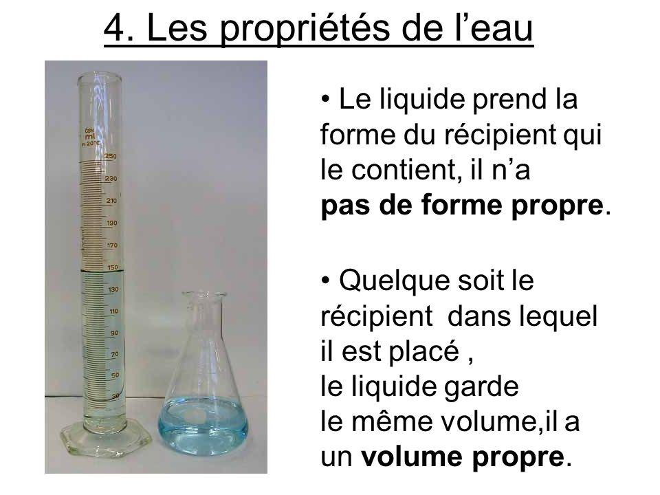 Le liquide prend la forme du récipient qui le contient, il na pas de forme propre. Quelque soit le récipient dans lequel il est placé, le liquide gard