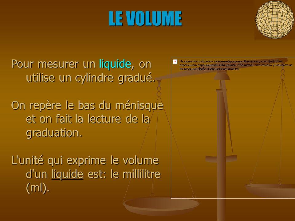 Pour mesurer un liquide, on utilise un cylindre gradué. On repère le bas du ménisque et on fait la lecture de la graduation. L'unité qui exprime le vo