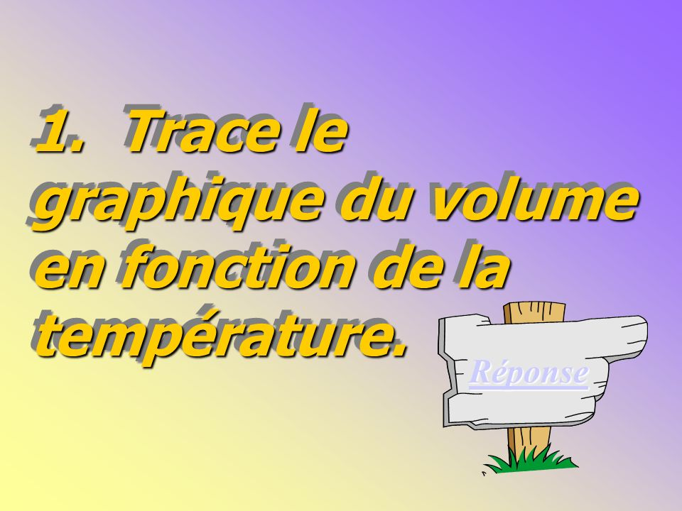 1.Trace le graphique du volume en fonction de la température.