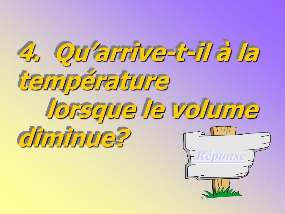 4.Quarrive-t-il à la température lorsque le volume diminue.