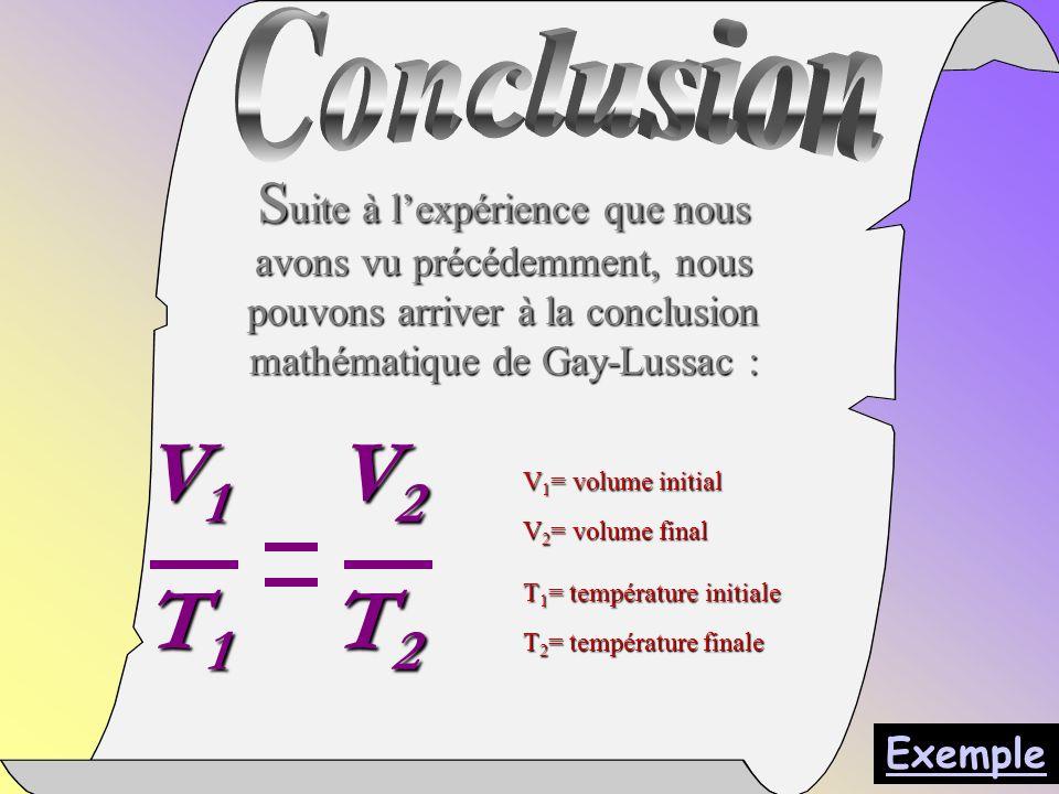 S uite à lexpérience que nous avons vu précédemment, nous pouvons arriver à la conclusion mathématique de Gay-Lussac : V 1 V 2 T 1 T 2 V 1 = volume initial V 2 = volume final T 1 = température initiale T 2 = température finale Exemple