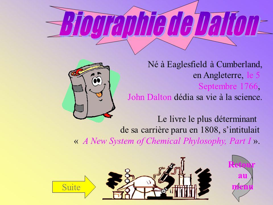 Suite Né à Eaglesfield à Cumberland, en Angleterre, le 5 Septembre 1766, John Dalton dédia sa vie à la science.
