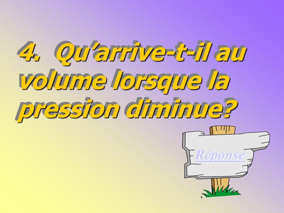 Questions Conclusion La pression diminue inversement proportionnellement.
