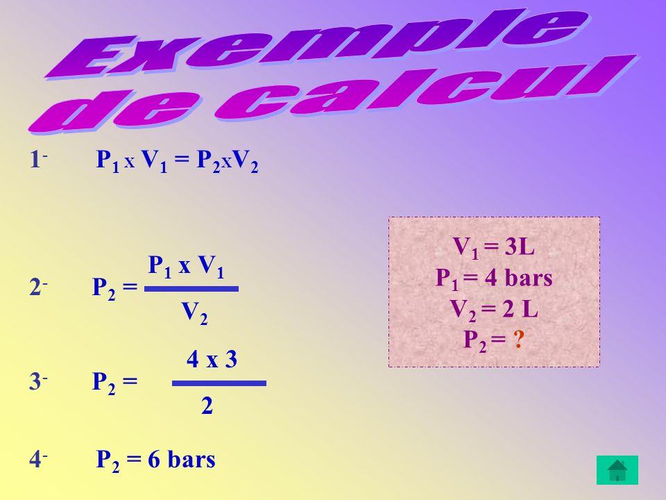 V 1 = 3L P 1 = 4 bars V 2 = 2 L P 2 = .