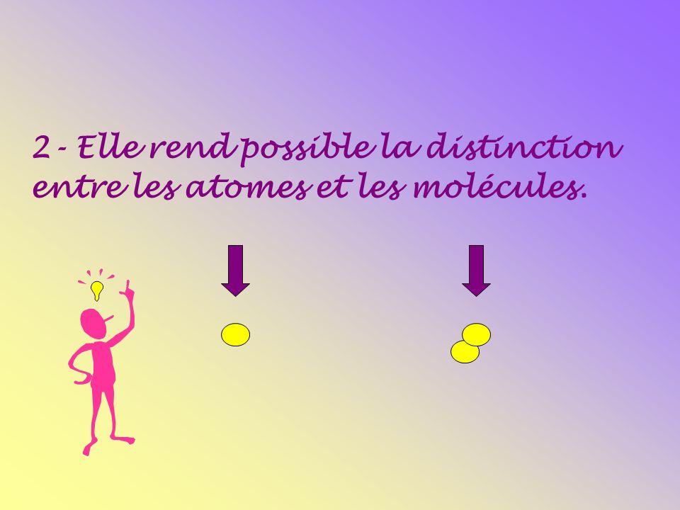 2- Elle rend possible la distinction entre les atomes et les molécules.