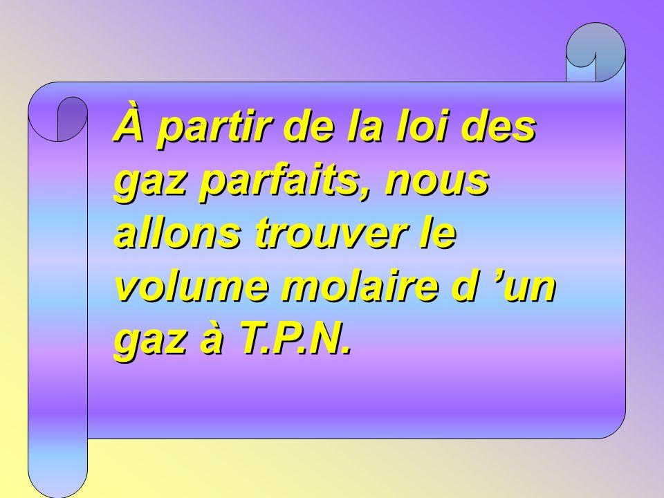 À partir de la loi des gaz parfaits, nous allons trouver le volume molaire d un gaz à T.P.N.