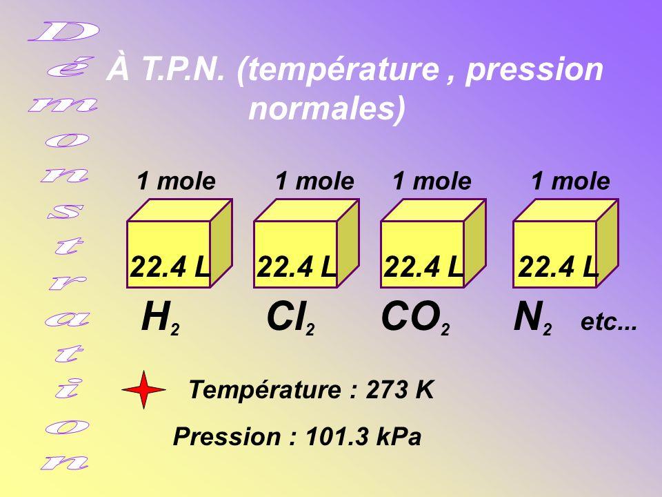 À T.P.N.(température, pression normales) H 2 Cl 2 CO 2 N 2 etc...