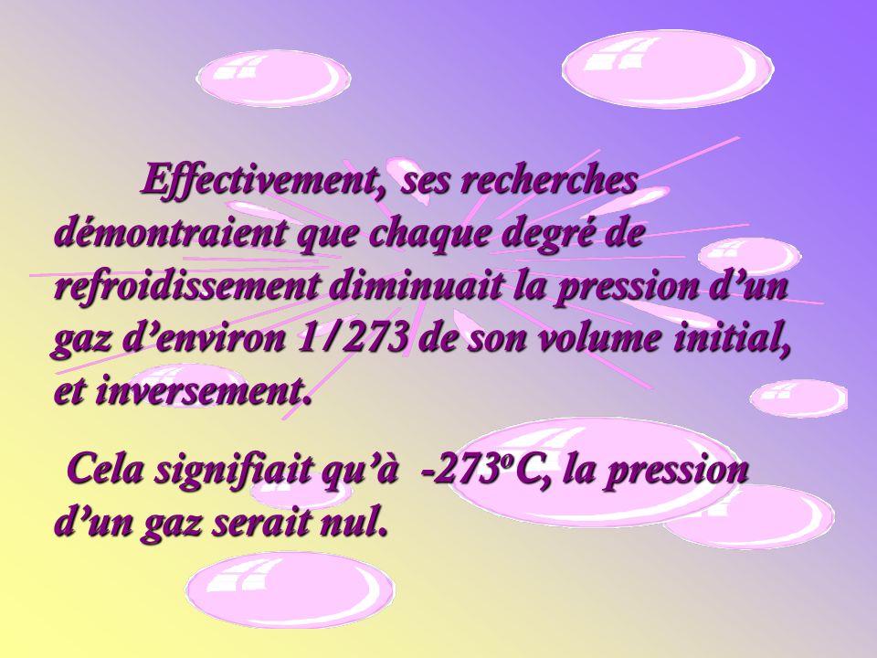 Effectivement, ses recherches démontraient que chaque degré de refroidissement diminuait la pression dun gaz denviron 1/273 de son volume initial, et inversement.