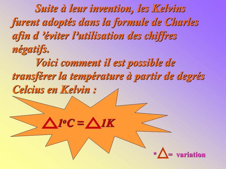 Suite à leur invention, les Kelvins furent adoptés dans la formule de Charles afin d éviter lutilisation des chiffres négatifs.