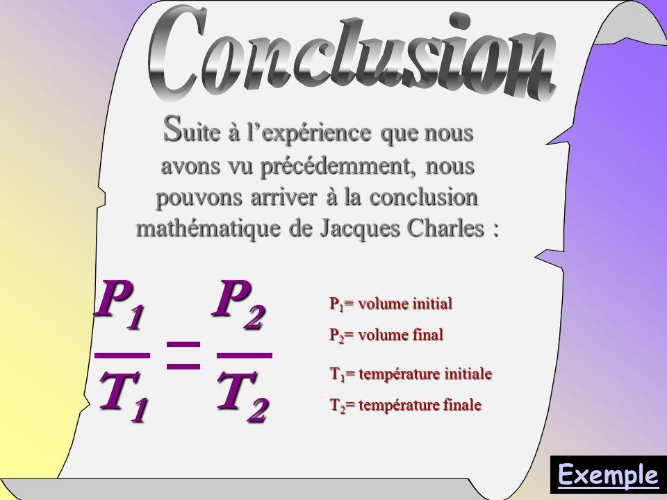 S uite à lexpérience que nous avons vu précédemment, nous pouvons arriver à la conclusion mathématique de Jacques Charles : P 1 P 2 T 1 T 2 P 1 = volume initial P 2 = volume final T 1 = température initiale T 2 = température finale Exemple