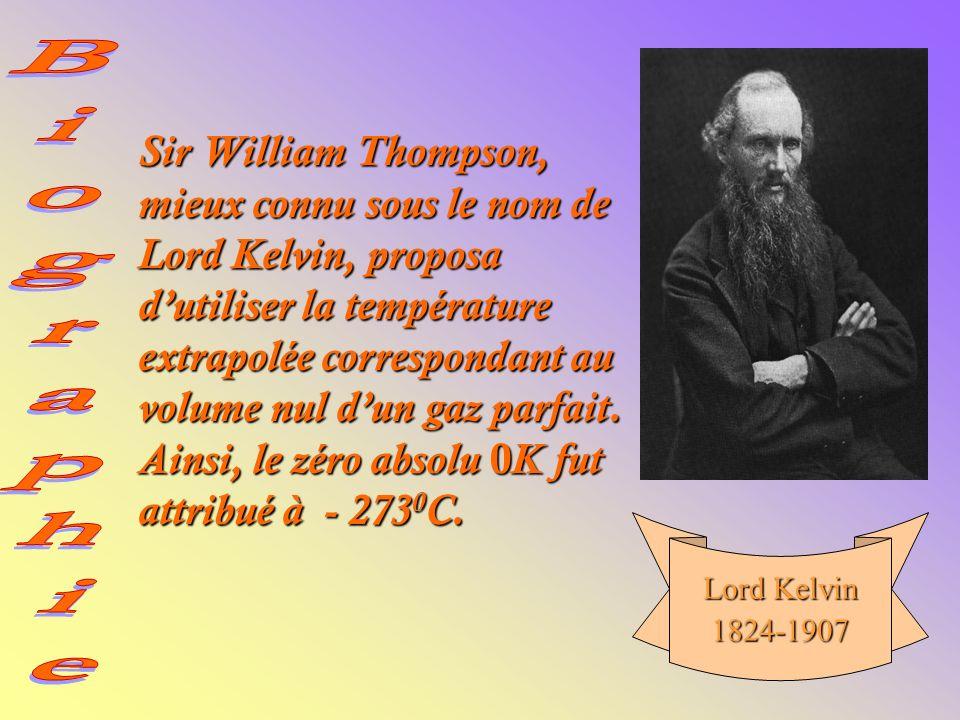 Sir William Thompson, mieux connu sous le nom de Lord Kelvin, proposa dutiliser la température extrapolée correspondant au volume nul dun gaz parfait.